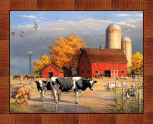 FARM BARN COWS SHEEP ~ 36 Cotton Fabric Quilt Panel