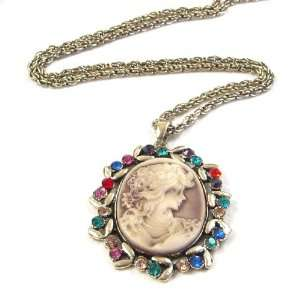 Rhinestone Lady Maiden Cameo Gold Plated Pendant Necklace Jewelry