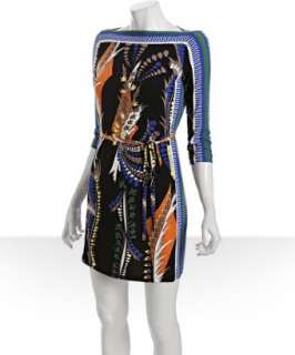 Ali Ro black retro print jersey boat neck shift dress   up to