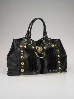 Gucci Black Leather Babouska Heart Medium Tote Bag
