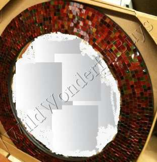 RUBY RED Glass Mosaic WALL MIRROR Round 23 Dorothy NEW