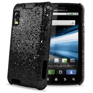 Black Sparkle Glitter Hard Case Cover For Motorola Atrix + Screen