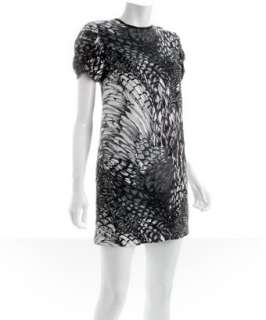 Castle Starr pewter silk feather print dress