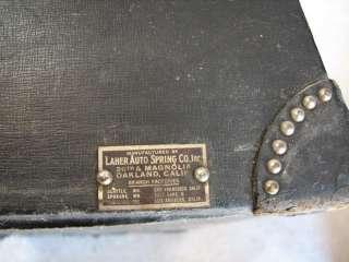 Antique Leather Laher Auto Car Trunk Circa 1920