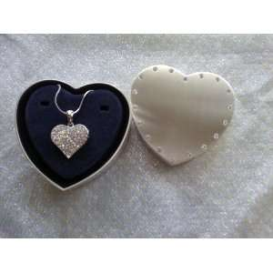 Silver Options Heart Trinket Box with Heart Necklace