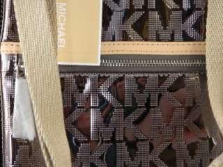 Michael Kors JET SET Large MK Mirror Metallic Crossbody Bag Nickel New
