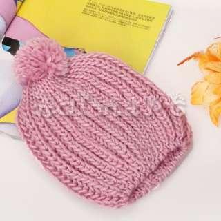 Korea Girl Winter New Knit Beanie Hat Crochet Skull Cap Beret w/ Poms