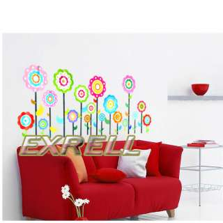 Colorful Flower Room Mural Wall Paper Sticker Decal DIY