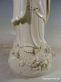 RARE WHITE PORCELAIN GUAN YIN BUDDHA BLANC DE CHINE 30 H