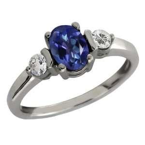 Tanzanite Blue Mystic Topaz and Topaz 14k White Gold Ring Jewelry