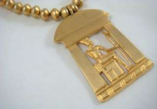 Vintage Gold Brass Tone Egyptian Themed Figural Chunky Necklace 16