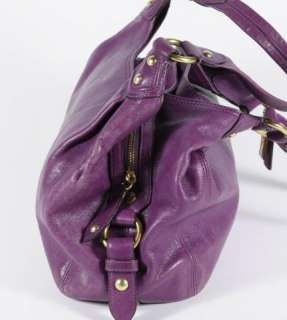 Coach Purple Leather Maggie Hobo Satchel Shoulder Bag Handbag Purse