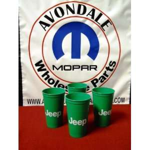 Jeep Green Plastic Drinking Cups cup 22 Ounce Set of (4