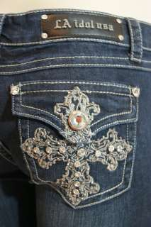 LA IDOL JEANS CRYSTAL CROSS BOOT CUT 1847LP ALL SIZES