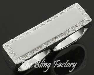 Rhodium/Silver Plated Personalized Two Finger Ring Size 5 13