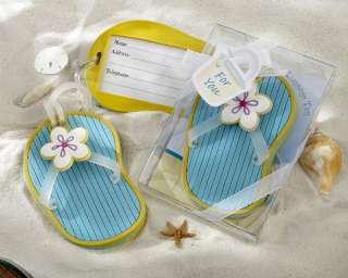Flip Flop Luggage Tag in Beach Themed Gift Box Wedding Favors