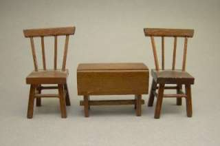 Wood Mahogany Dollhouse Miniature Furniture Spinning Wheel Chair Table