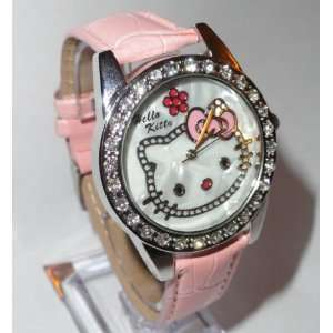 com Hello Kitty Dial Analog Watch with Crystal Bezel (Pink) with Free