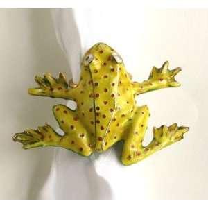 Cloisonne Frog Napkin Ring in Lime