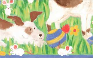 Adorable! Childs Room Puppy Cat Bunny Wainscot Wallpaper