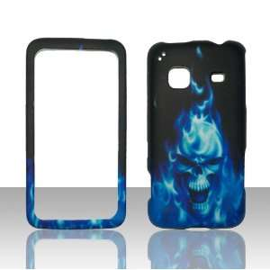 Blue Skull Fire Samsung Galaxy Precedent Straight Talk Phone Cover