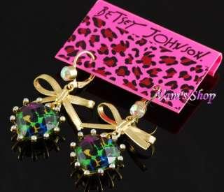 BETSEY JOHNSON Jewelry Green Leopard heart Necklace + earrings set, in