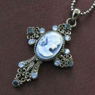 Style Blue Sapphire Rhinestone Designer Cameo Cross Necklace Pendant