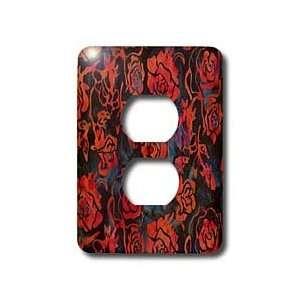 Lee Hiller Designs Batik Print   Red Roses on Dark Blue Batik   Light