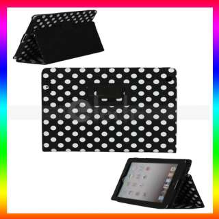 Black Polka Dots PU Design Leather Case Cover With Stand for Apple