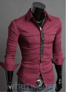 Mens Patched Closure Slim Long Sleeve Cotton Dress Shirt 3 Colors