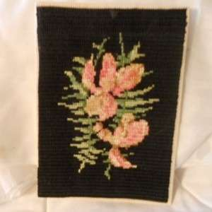 VINTAGE NEEDLE POINT SAMPLER FLORAL UNFRAMED