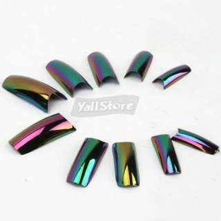 Pcs Acrylic French Half False Nail Art Tips Rainbow Black Box Package
