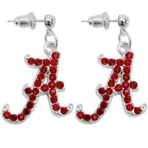 NCAA Alabama Crimson Tide Rhinestone Logo Dangle Earrings