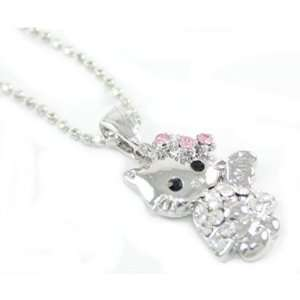 Hello Kitty Angel w/ Pink Crystals Pendant/ Necklace