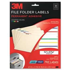 3M 3300G   Permanent Adhesive Clear Filing Labels, 2/3 x 3