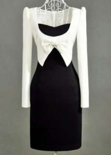 2011 Korea women noble long sleeve dress bowknot Club Wear White and