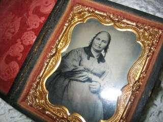 Antique Travel Photo Casr Picture Frame Gold Leaf & Red