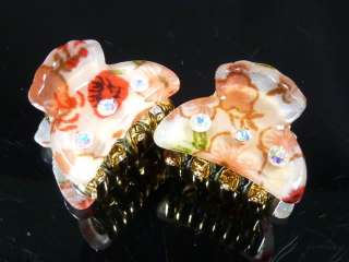 "& Pink Flower Rhinestone Plastic Hair Clip Claw Clamp 1"" (C477a"