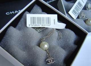 CHANEL DANGLE PEARL & SWAROVSKI CRYSTAL EARRINGS & NECKLACE SET, NIB W