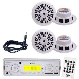Pyle Marine Radio Receiver, Speaker and Cable Package   PLMR89WW AM/FM