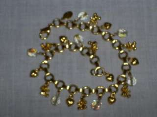Kirks Folly Goldtone Heart Bears Crystal Bead Charm Bracelet