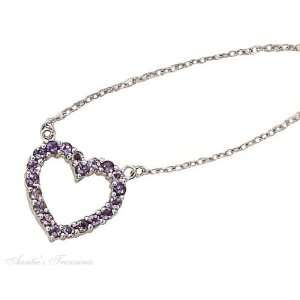 Silver Amethyst Open Heart Pendant On Cable Chain Necklace Jewelry