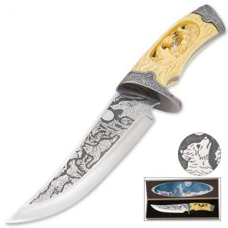 CUSTOM WILDLIFE WOLF BOWIE DAGGER KNIFE & CASE   NEW