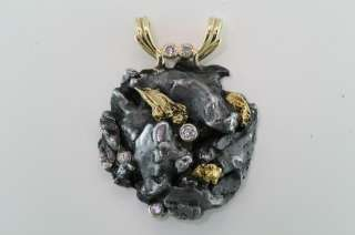FALLEN FIRE ( #5 METEORITE PENDANT) 5 Diamonds & Natural Alaskan Gold