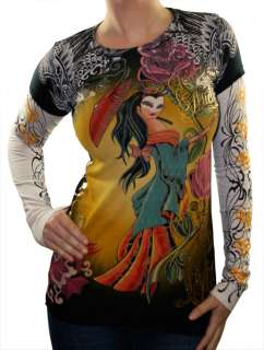 AUDIGIER Ed Hardy Geisha Double Sleeve Tattoo Womens Shirt