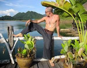 Thailand Fisherman Wrap Pants Striped Cotton Black Brown Natural Tones