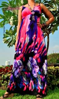 NEW Pink/Purple Floral Evening/Cocktail long Maxi Dress Size Sz M