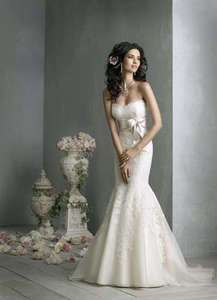 Stock Lace+Satin Mermaid Bridal Wedding Dress Prom Gown Ball Size 6 8