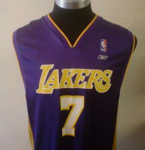 VINTAGE REEBOK PURPLE LAMAR ODOM LOS ANGELES LAKERS NBA ROAD JERSEY L