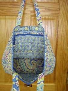 VERA BRADLEY Large Tic Tac Tote CAPRI BLUE Retired Purse Travel Bag